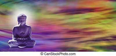Buddha Energy Banner - Wide banner with meditating Buddha in...