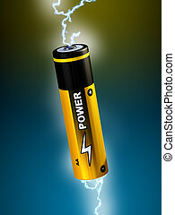 Alkaline battery - Electricity sparks going through an AA...