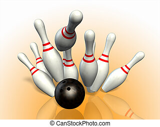 Strike - Bowling ball striking pins