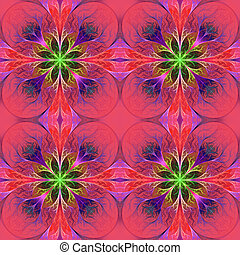 Pattern from fractal flowes in purple and green. Computer...