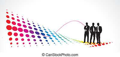 2 - Illustration of business people with half tone sheet