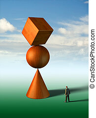 Impossible equilibrium - Businessman looking at a strange...