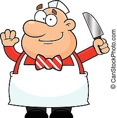 Cartoon Butcher Happy - Cartoon illustration of a butcher...