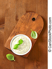 Creamy salad dressing made of mayonnaise, buttermilk,...