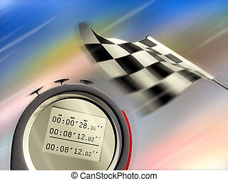 Speed - Digital chronometer and race flag on blurred...