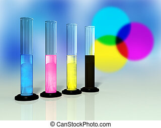 Cmyk colors - Primary colors for printing in glass tubes....