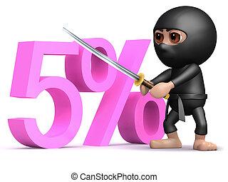 3d Ninja five percent - 3d render of a ninja with sword...