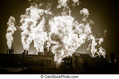 Air pollution - factory Mondi at town Ruzomberok, Slovakia