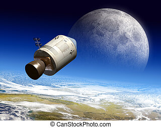 Moon travel - Apollo module flying to the moon. Digital...