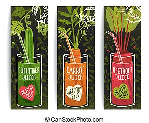 Drinking Diet Vegetable Juice Cartoon Design on Dark with...