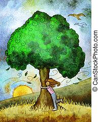 나무, 포옹,