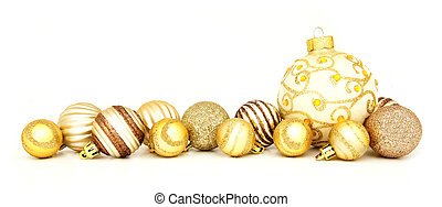 Gold Christmas bauble border - Group of gold Christmas...