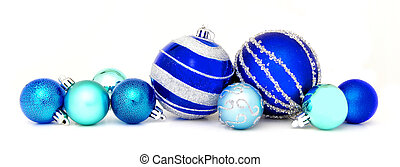 Blue Christmas bauble border - Group of blue Christmas...