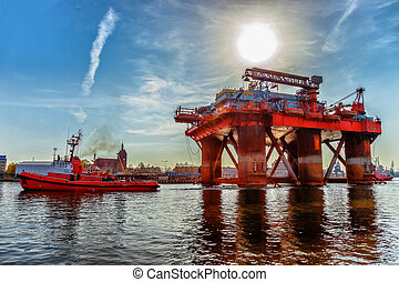 Oil Rig in port - Towing Oil Rig in the Port of Gdansk,...