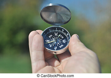 compass in the palm of your hand. - The compass in the palm...