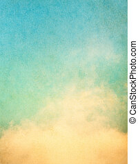 Grunge Clouds - Yellow clouds and fog on a vintage, textured...