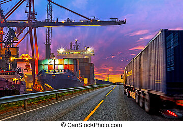 Truck in port - Truck transport container on the road to the...