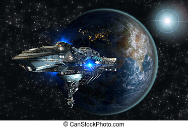 Spaceship fleet leaving Earth - Spaceship leaving Earth as a...