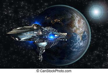 Spaceship fleet leaving Earth - Spaceship leaving Earth as a...