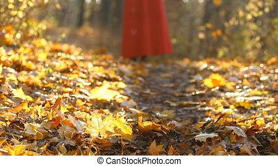 Girl running in an autumn park