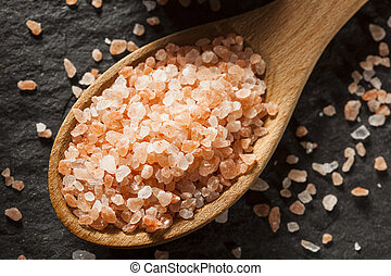Raw Pink Himalayan Sea Salt in a Spoon