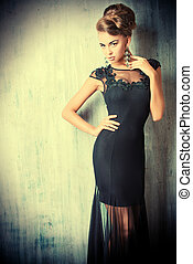 evening fashion - Stunning female model in black evening...