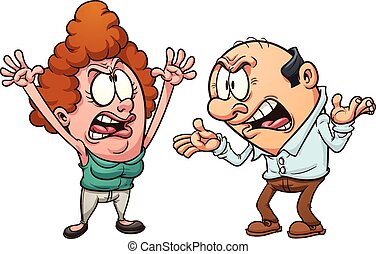 Couple arguing - Middle aged couple arguing. Vector clip art...