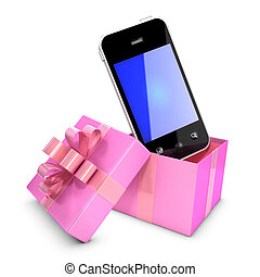 3d Smartphone in pink gift box