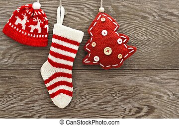 Christmas decorations on wood - Hanging cloth Christmas...