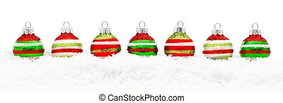 Christmas bauble border - Border of colorful Christmas...