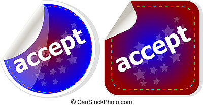black accept stickers set on white, icon button