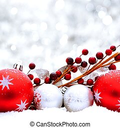Silver and red Christmas scene - Christmas baubles and...