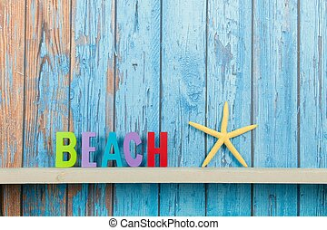 Beach hut - Beach with starfish on old wooden background