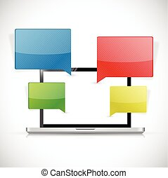 laptop text message communication illustration design over a...