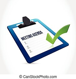 meeting agenda clipboard illustration design over a white...