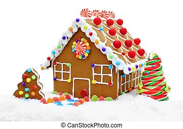 Gingerbread house isolated - Gingerbread house in snow...