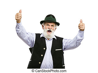 Old bavarian man in hat with thumbs up isolated - Portrait...
