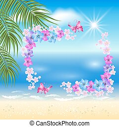 Sandy beach with palm and flowers