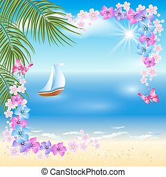 Sandy beach with palm trees, flowers frame and Sailing boat