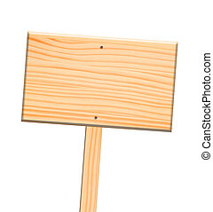 Wooden sign, isolated, clipping path.