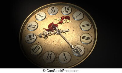 Watch Blood - blood dripping on a clock face hour hands...