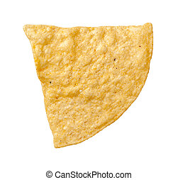 Tortilla Chip Isolated - A single tortilla chip isolated on...