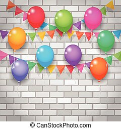 balloon and party flags on brickwall background - balloon...