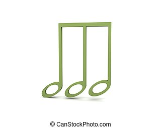 three dimensional view of green musical clef note