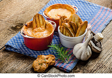 Tomato and cheese dip baked with crispy garlic toast -...