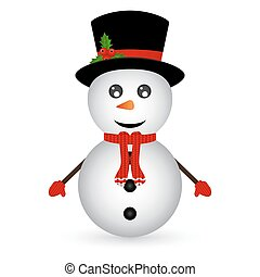 Christmas Snowman on white background