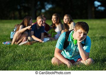Group Bullying Teen - Group of teen bullying sad student...