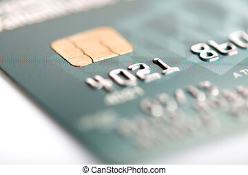 Credit card on a white background - Close up of credit card...