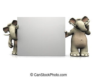 Two cartoon elephants with big blank sign - Two friendly...