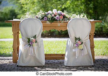 Wedding Chair Covers with Fresh Roses - Wedding Chairs...